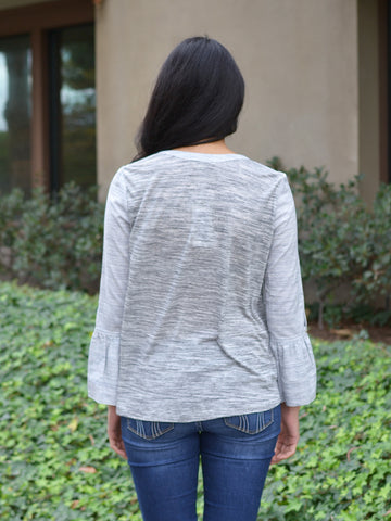 Blended Grey Bell Sleeves Top