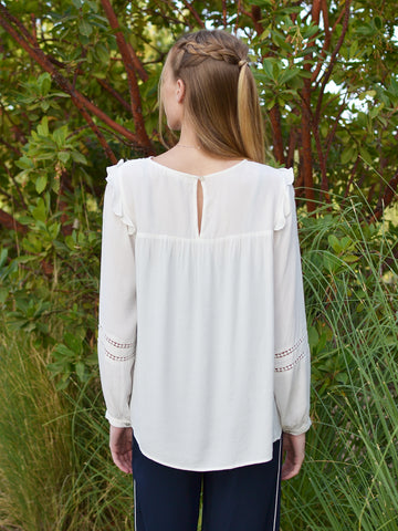 White Shoulder Ruffle Top