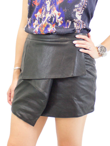 Lush Cascade Front Faux Leather Skirt