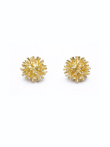 Golden Pom Pom Earrings