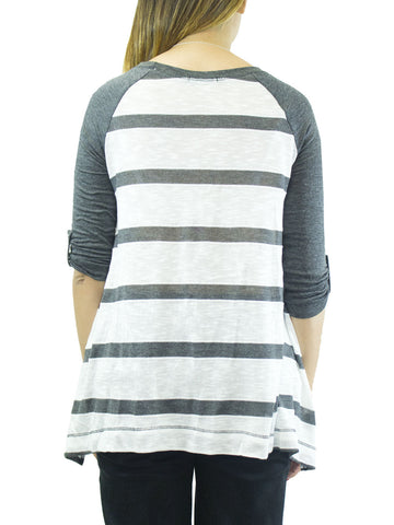 Striped Contrast Sleeve Baseball Sweater Top