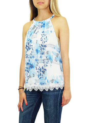 Blue Watercolor Floral Chiffon Top