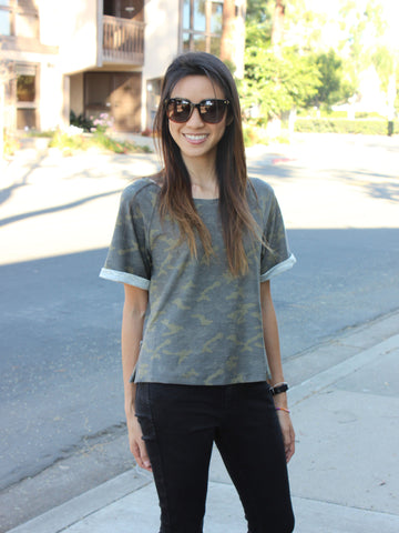 Lazy Saturday Camo Top