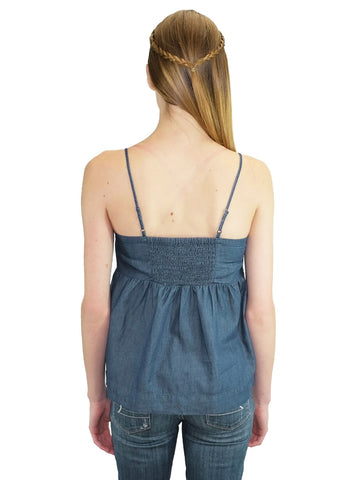 Relished Kris Pintucked Chambray Tank Top