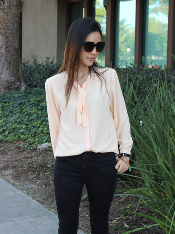 Relished Corinne Peach Long Sleeve Blouse
