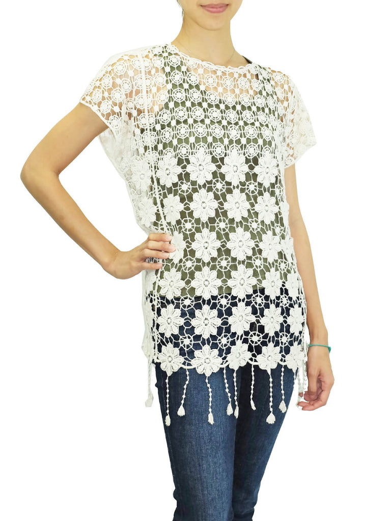 Blu Pepper Ivory Crocheted Boho Fringe Top