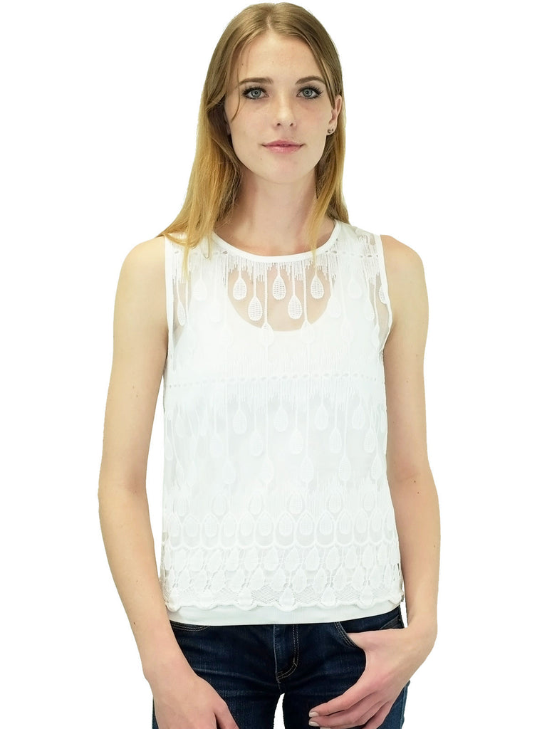 JOA Ivory Water Droplets Embroidered Top
