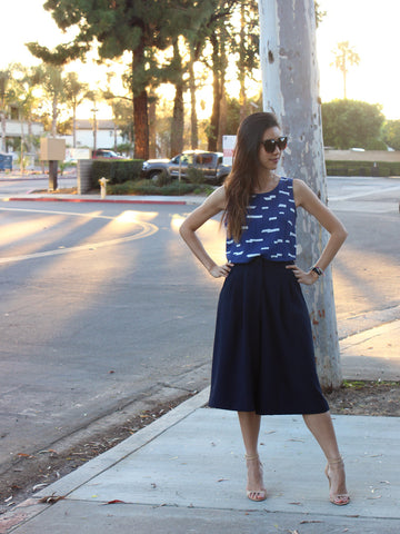 Lush Navy Paris-Bound Culotte