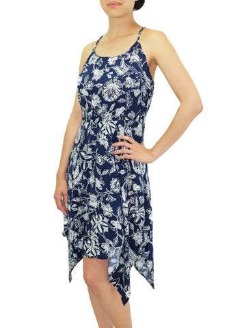 Aloha Kai Navy Sleeveless Print Dress