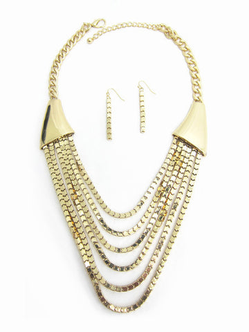 Chains of Gold Link Necklace Set