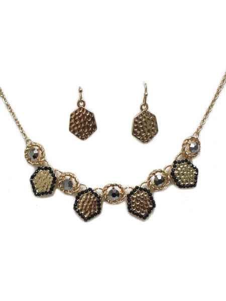 Honeycomb Necklace & Earrings Set