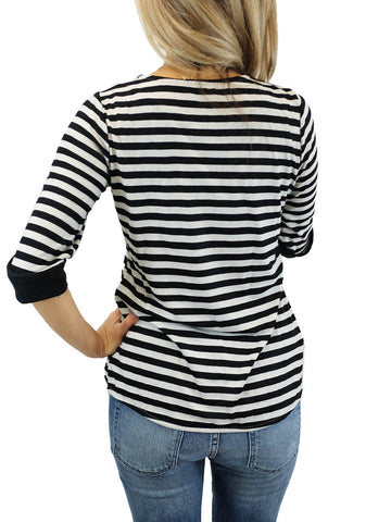 Relished Light Grey/Black Parisienne Chic Mini Striped Top