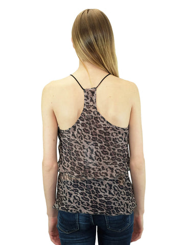 Relished Elissa Tiered Tonal Leopard Print Top