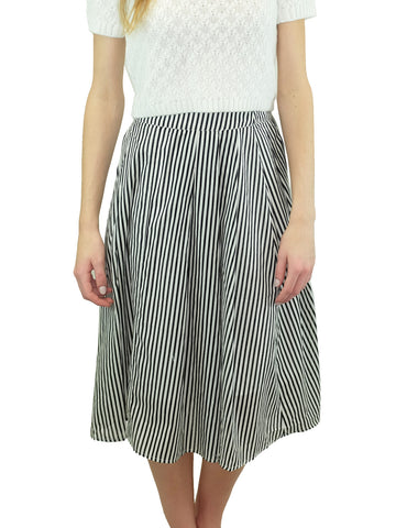 Relished Central Park Striped Midi Skirt