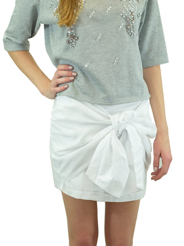 JOA White Tie-Front Knotted Skirt