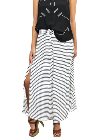 Striped Button Up Slit Maxi Skirt