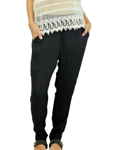 Black Sequin Detail Harem Pants