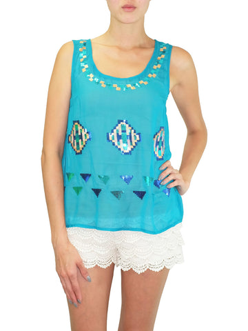 Oasis and Mirage Sequinned Chiffon Tank