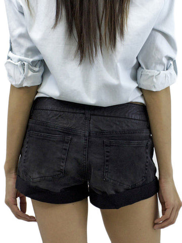 Revel Leatherette Denim Shorts