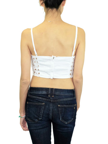 Embroidered White Eyelet Crop Top