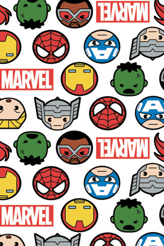 Marvel Kawaii II Hero Faces & Logo White