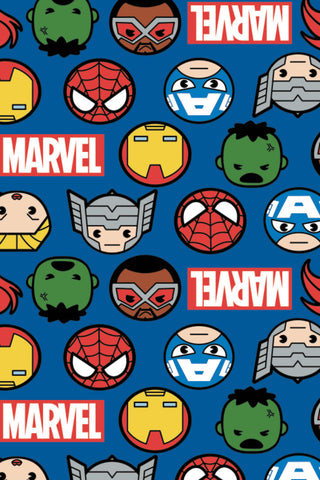 Marvel Kawaii II Hero Faces & Logo Blue