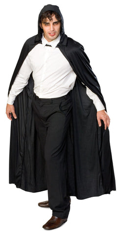 "Long Hooded Cape 150cm (60"") Black"