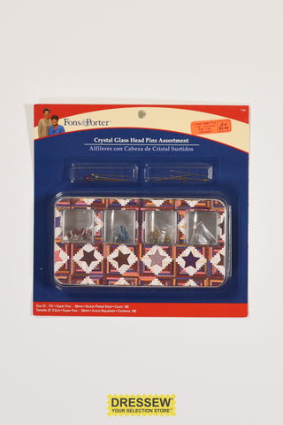 Fons & Porter Glass Head Pins - 180 pieces