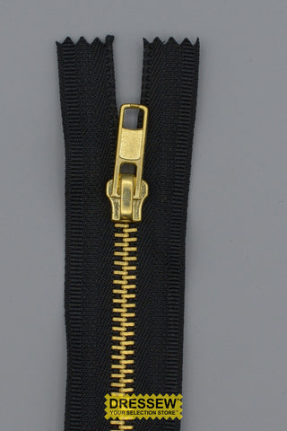 "#5 Medium Brass Closed End Zipper 18cm (7"") Black"