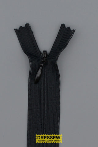 "Invisible Closed End Zipper 23cm (9"") Black"