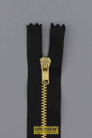 "#3 Fine Brass Closed End Zipper 10cm (4"") Black"