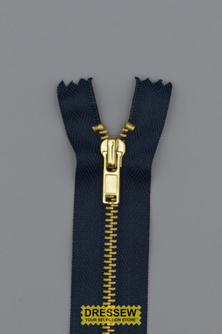 "#3 Fine Brass Closed End Zipper 15cm (6"") Navy"