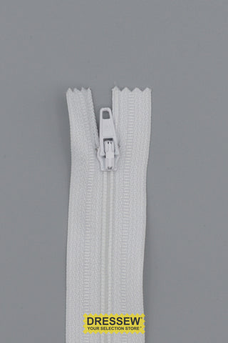 "Closed End Zipper 25cm (10"") White"