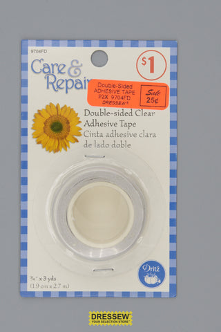 "Double-Sided Adhesive Tape 3/4"" x 3 yds. Clear"