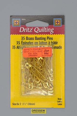 "Safety Pins #2 38mm (1-1/2"") Gold"