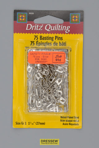"Safety Pins #1 25mm (1"") Silver"