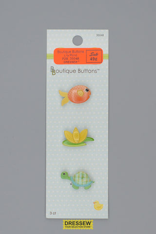 "Babyville Boutique Buttons 25mm (1"")  Lily Pond"