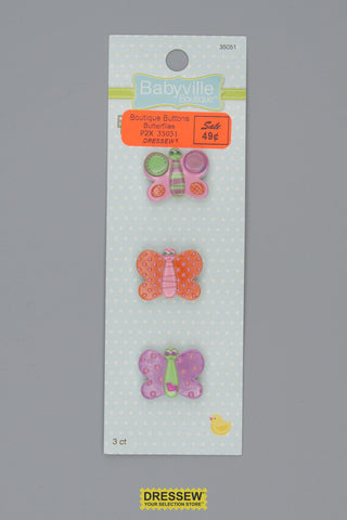 "Babyville Boutique Buttons 25mm (1"") Butterflies"