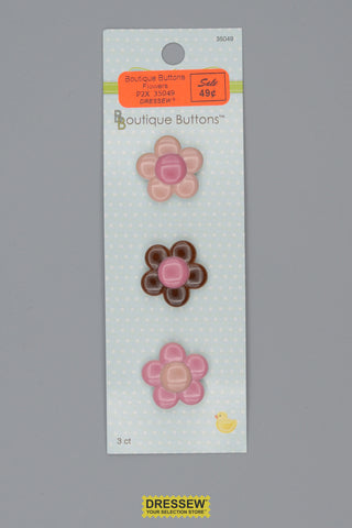 "Babyville Boutique Buttons 25mm (1"") Flowers"