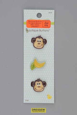 "Babyville Boutique Buttons 25mm (1"") Monkey & Banana"