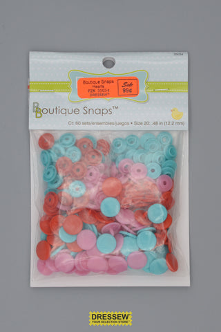 "Babyville Boutique Snaps 12mm (1/2"") Hearts"