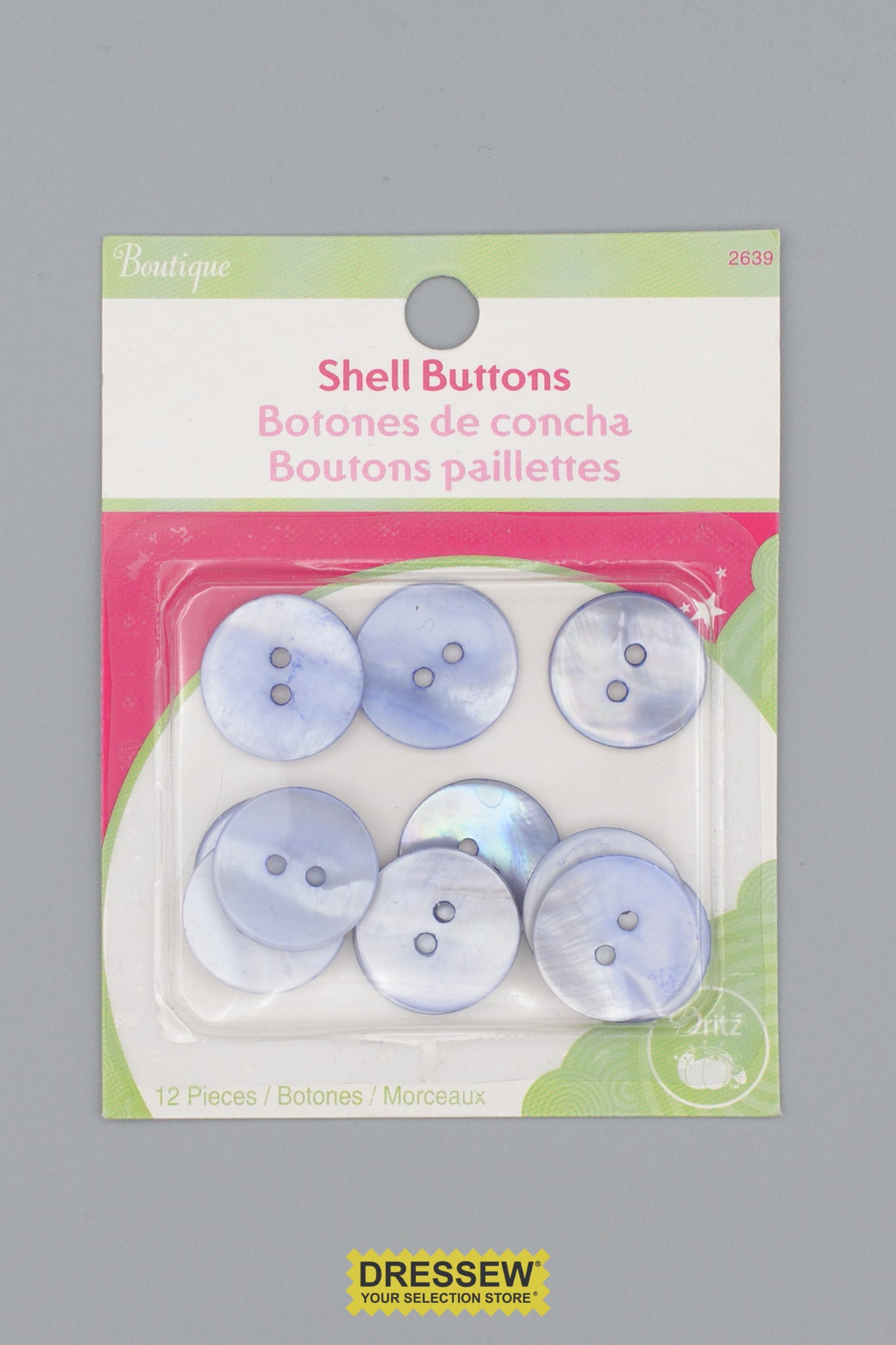 "Shell Buttons 18mm - 3/4"" Blue"