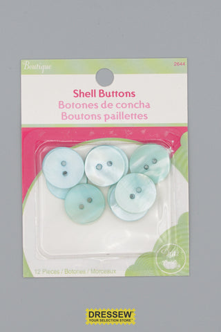 "Shell Buttons 18mm - 3/4"" Turquoise"