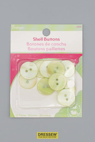 "Shell Buttons 18mm - 3/4"" Lime"