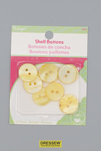 "Shell Buttons 18mm - 3/4"" Yellow"