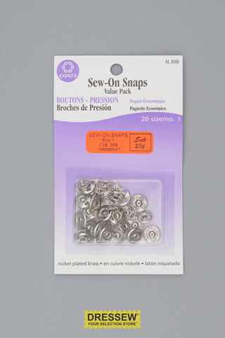 Sew-On Snaps Size 1 Silver