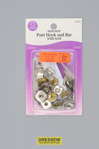 No-Sew Pant Closure Kit Silver