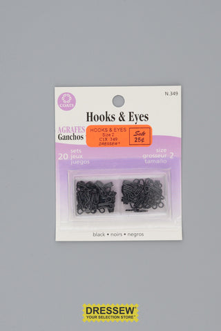Hooks & Eyes Size 2 Black