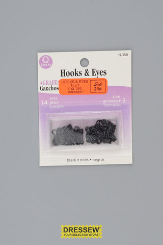 Hooks & Eyes Size 3 Black