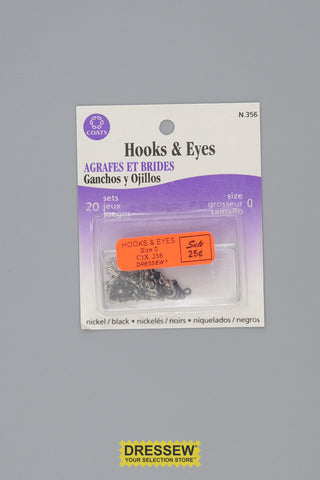 Hooks & Eyes Size 0 Black & Silver